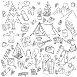 Recreation. Tourism and camping set. Hand drawn doodle  Elements - vector illustration Royalty Free Stock Photo