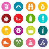 Recreation tourism icons many colors set. Isolated on white for digital marketing Stock Photography