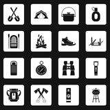 Recreation tourism icons set squares vector Stock Photography