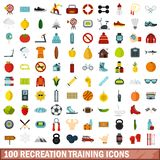 100 recreation training icons set, flat style. 100 recreation training icons set in flat style for any design vector illustration Royalty Free Stock Photo