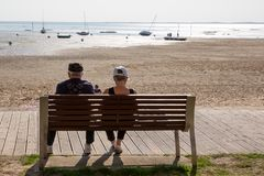 Recreation and travel pensioners stock image