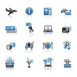 Recreation, Travel & Vacation, icons set. Vacation icons set with reflection Stock Images