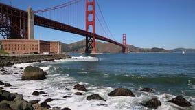 Recreation under Golden Gate Bridge. View at Golden Gate Bridge- San Francisco, California stock video footage