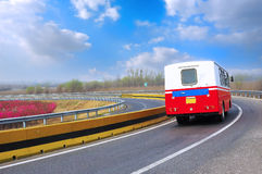 Recreation Vehicle on the highway Stock Photos