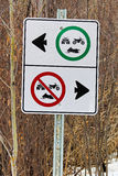 Recreation vehicles allowed only on one side of a split trail Royalty Free Stock Photos