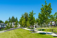 Recreation and walking area on the block of new townhouses. Recreation and walking area on the block of new townhouses stock photography
