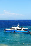 Recreation yacht at the pier on Turkish resort Royalty Free Stock Photos