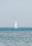 Recreation yacht, ship sailing on Black Sea, blue water, sunny day and clear sky Royalty Free Stock Images