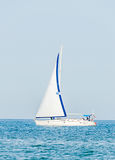 Recreation yacht, ship sailing on Black Sea, blue water, sunny day and clear sky Royalty Free Stock Photos