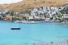 Recreation yachts near beach on Turkish resort. Bodrum, Turkey Stock Image