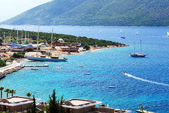 Recreation yachts at the pier on Turkish resort Stock Images