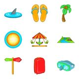 Recreational activity icons set, cartoon style. Recreational activity icons set. Cartoon set of 9 recreational activity vector icons for web isolated on white Stock Images