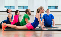 Recreational athletes doing yoga exercises in fitness gym Royalty Free Stock Photo