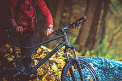 Recreational Bike Trip. In Late Summer Day. Biking on the Forest Trail stock photos