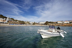 Recreational boat in ibiza island Stock Photos