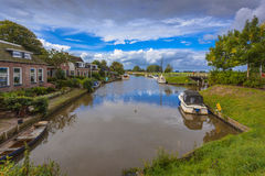 Recreational Boating Landscape Ritsumazijl, Friesland, Netherlan Royalty Free Stock Photo
