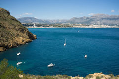 Recreational boats in Altea bay Stock Photos