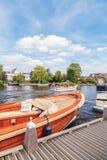 Recreational boats on the Amstel river in Ouderkerk aan de Amste Stock Photography
