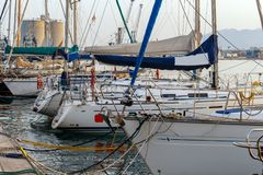Yachts moored in the port of Malaga. Recreational boats docked in the port of Malaga stock images