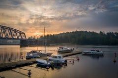 Recreational boats at sunrise Stock Photo