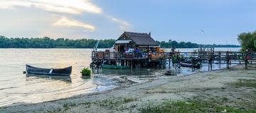 Recreational fishing house on a pontoon. Horizontal view of a wo Royalty Free Stock Images