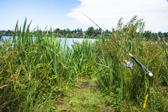 Recreational Fishing Rod by Lake. Sports fishing pole set up in grass by lake. Copy space royalty free stock photos