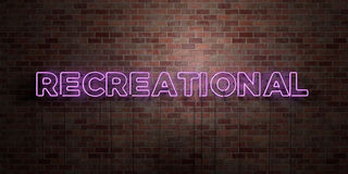 RECREATIONAL - fluorescent Neon tube Sign on brickwork - Front view - 3D rendered royalty free stock picture Royalty Free Stock Image