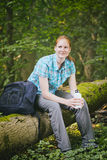 Recreational Hiker with Water Bottle in Nature Stock Photography