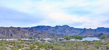 Recreational Home Village Near Colorado River. This recreational Home Village near the Colorado River provides people with an access to the river for boating and stock photography