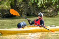 Recreational Kayaking-Canoeing on Danube Delta adventure in Romania wildlife.  stock photography