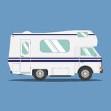 Recreational motor home vehicle. Camping trailer family caravan. Motorhome trailer car.  Rv mobile home truck. Traveler truck flat vector icon Stock Images