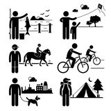 Recreational Outdoor Leisure Activities Clipart. A set of human pictogram representing man recreational outdoor activities (fishing, kite surfing, horse riding Royalty Free Stock Photography