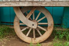 The shape of a wooden wheel on an ancient cart royalty free stock image