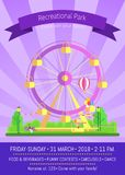 Recreational Park Promo Poster Vector Illustration. Recreational park, promo poster with headline and text sample, ferris wheel, seller in tent and man sitting Stock Photography