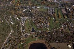 Recreational real estate. Aerial view of homes on a golf course Royalty Free Stock Photography