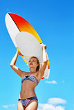 Recreational Summer Water Sports. Surfing. Woman With Surfboard. Recreational Summer Water Sports. Surfing. Beautiful Smiling Young Surfer Woman In Bikini With Royalty Free Stock Image