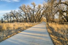 Recreational trail along a river valley Stock Photo