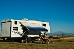 Recreational vechicle RV camping royalty free stock photo