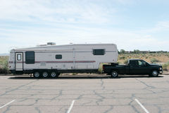 Recreational vehicle. Truck pulling a recreational vehicle Royalty Free Stock Image