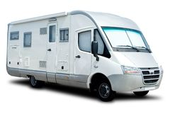 Recreational Vehicle. White Recreational Vehicle Isolated with a Shadow Royalty Free Stock Photo