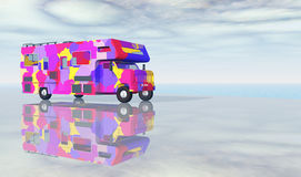Recreational vehicle. Computer generated 3D illustration with a recreational vehicle at the sea Stock Photo