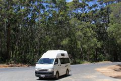 Recreational Vehicle drives through the Karri tree forest Royalty Free Stock Photography