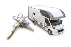 Recreational vehicle with keys. On a white background Royalty Free Stock Photography