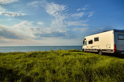 Recreational vehicle in a meadow Stock Photography