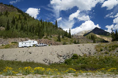 Recreational vehicle in the mountains. Traveling in a recreational vehicle on a mountain road in Colorado Stock Photography