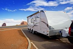 Recreational Vehicle RV. Modern Lightweight Travel Trailer in Arizona, USA. Recreation and Outdoor Photo Collection Stock Image