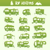 Recreational Vehicle set. Vector green recreational vehicle shape cartoon set Royalty Free Stock Images