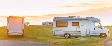 Recreational vehicle at sunset Norway, Europe Stock Photo