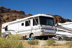 Recreational vehicles. In a campground in the southwest Royalty Free Stock Photography