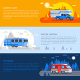Recreational Vehicles Banner Set Royalty Free Stock Photography
